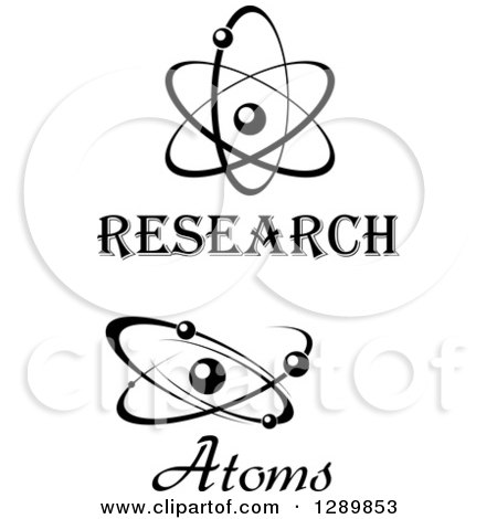 Clipart of Black and White Atoms with Text - Royalty Free Vector Illustration by Vector Tradition SM