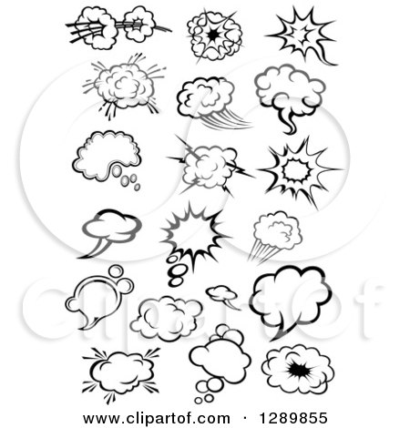 Clipart of Black and White Comic Bursts Explosions or Poofs, Thought and Speech Bubbles - Royalty Free Vector Illustration by Vector Tradition SM