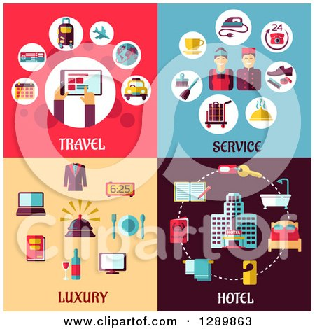 Clipart of Travel, Service, Luxury and Hotel Designs - Royalty Free Vector Illustration by Vector Tradition SM