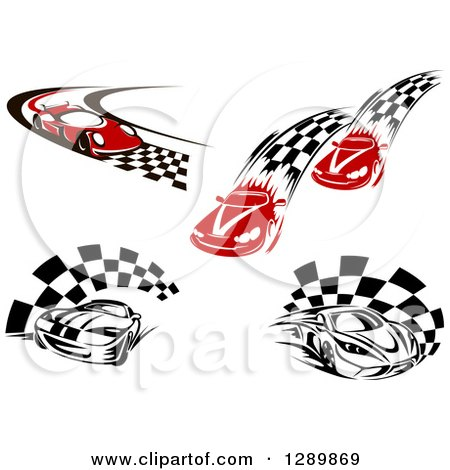 Clipart of Red and Black and White Race Cars and Checkered Trails or Flags - Royalty Free Vector Illustration by Vector Tradition SM