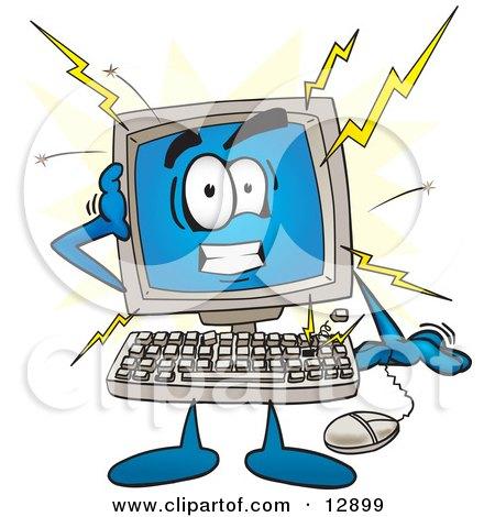 Desktop Computer Mascot Cartoon Character Crashing Posters, Art Prints