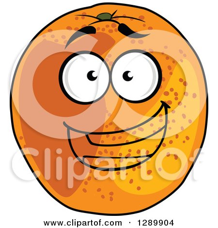 Clipart of a Happy Cartoon Orange Character - Royalty Free Vector Illustration by Vector Tradition SM