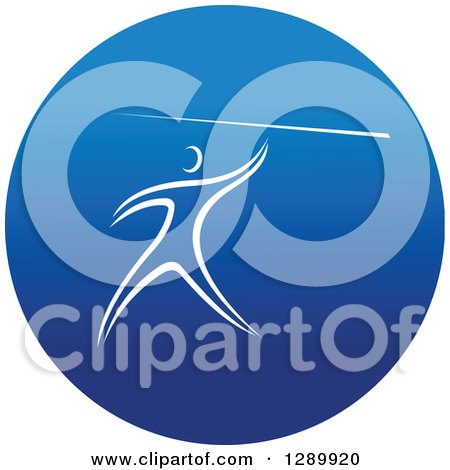 Clipart of a White Track and Field Athlete Throwing a Javelin in a Round Blue Icon - Royalty Free Vector Illustration by Vector Tradition SM