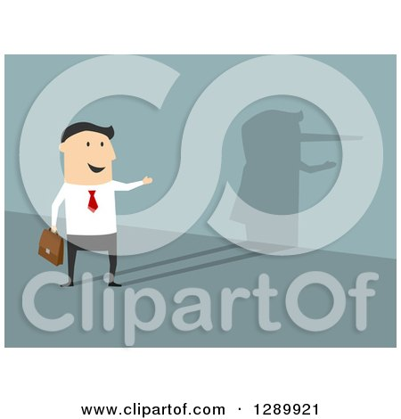 Clipart of a Flat Modern Design Styled Lying White Businessman Reflecting a Pinocchio Nose Shadow, over Blue - Royalty Free Vector Illustration by Vector Tradition SM