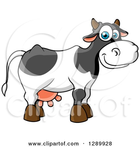 Clipart of a Cute Cartoon Blue Eyed Dairy Cow - Royalty Free Vector Illustration by Vector Tradition SM
