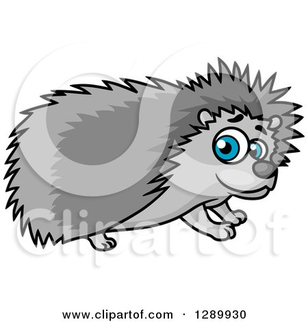 Clipart of a Cute Blue Eyed Gray Hedgehog - Royalty Free Vector Illustration by Vector Tradition SM
