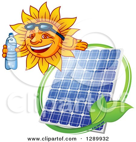 Clipart of a Happy Sun Holding a Bottled Water and Presenting over a Solar Panel and Leaves - Royalty Free Vector Illustration by Vector Tradition SM
