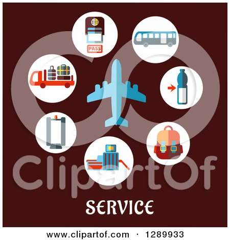 Clipart of a Blue Airplane and Airport Items over Service Text on Maroon - Royalty Free Vector Illustration by Vector Tradition SM