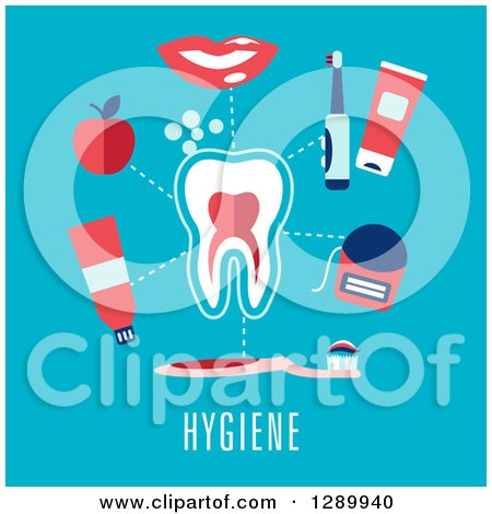 Clipart of a Tooth with Hygiene Items and Text on Blue - Royalty Free Vector Illustration by Vector Tradition SM