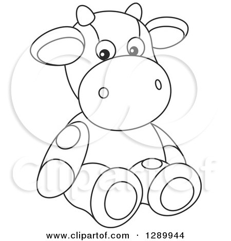 Clipart of a Black and White Cute Stuffed Cow Toy - Royalty Free Vector Illustration by Alex Bannykh