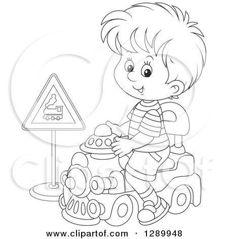 Clipart Of A Black And White Boy Playing And Riding A Toy Train