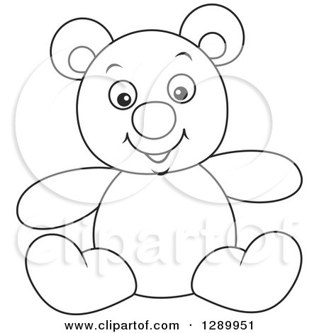 Clipart of a Black and White Stuffed Teddy Bear Toy - Royalty Free Vector Illustration by Alex Bannykh