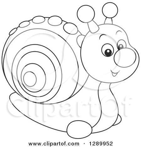 Clipart of a Cute Black and White Toy Snail - Royalty Free Vector Illustration by Alex Bannykh