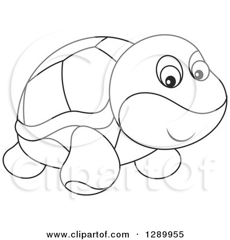 Clipart of a Black and White Cute Turtle Toy - Royalty Free Vector Illustration by Alex Bannykh