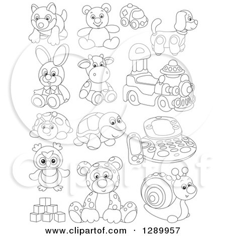 Clipart of Black and White Childrens Toys - Royalty Free Vector Illustration by Alex Bannykh