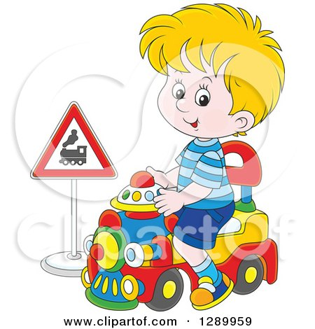 Clipart Of A Blond Caucasian Boy Playing And Riding A Toy Train Royalty Free Vector Illustration