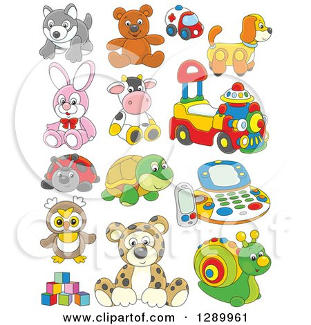 Clipart of Cartoon Childrens Toys - Royalty Free Vector Illustration by Alex Bannykh