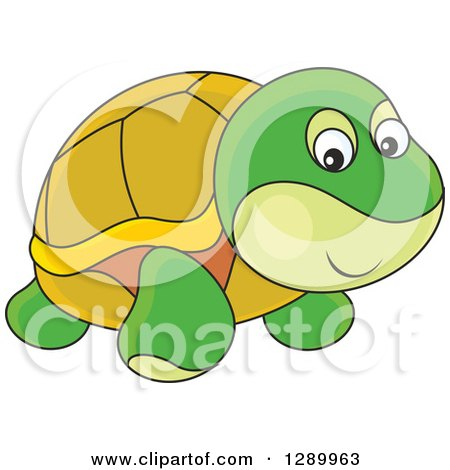 Clipart of a Cute Turtle Toy - Royalty Free Vector Illustration by Alex Bannykh