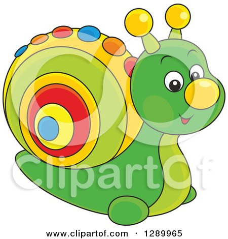 Clipart of a Cute Green Toy Snail with a Colorful Shell - Royalty Free Vector Illustration by Alex Bannykh
