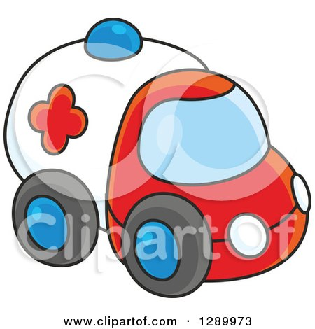Clipart of a Toy Ambulance - Royalty Free Vector Illustration by Alex Bannykh