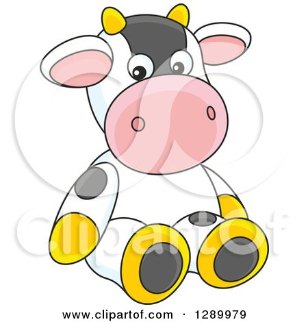 Clipart of a Cute Stuffed Cow Toy - Royalty Free Vector Illustration by Alex Bannykh