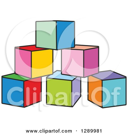 Clipart of a Pyramid of Colorful Toy Blocks - Royalty Free Vector Illustration by Alex Bannykh