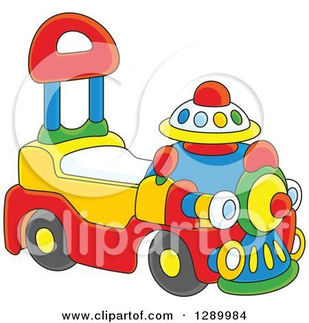 Clipart of a Colorful Ride on Toy Train - Royalty Free Vector Illustration by Alex Bannykh