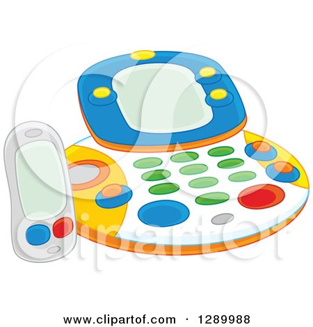 Clipart of a Childs Fax Machine Toy - Royalty Free Vector Illustration by Alex Bannykh