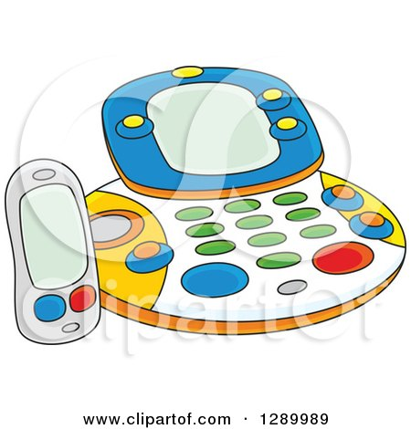 Clipart of a Childs Fax Facsimile Machine Toy - Royalty Free Vector Illustration by Alex Bannykh