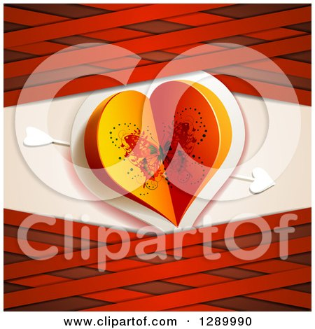 Clipart of a Valentines Day Background of a Butterfly Paper Heart with Cupids Arrow and Red Lattice - Royalty Free Vector Illustration by merlinul