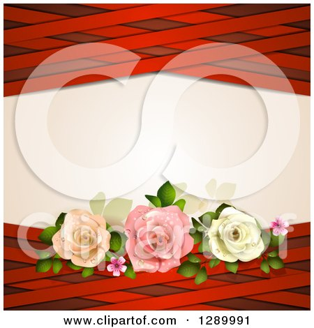 Clipart of a Valentines Day or Wedding Background of Three Roses and Red Lattice Around Text Space - Royalty Free Vector Illustration by merlinul