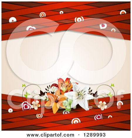 Clipart of a Valentines Day or Wedding Background of Lilies, Hearts, Butterflies, Targets, and Red Lattice Around Text Space - Royalty Free Vector Illustration by merlinul