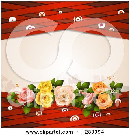Clipart of a Valentines Day or Wedding Background of Roses, Hearts, Targets and Red Lattice Around Text Space - Royalty Free Vector Illustration by merlinul