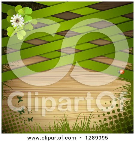Clipart of a St Patricks Day or Spring Background with Clovers, Butterflies, Grass, Halftone, a Ladybug and Green Lattice over Wood - Royalty Free Vector Illustration by merlinul