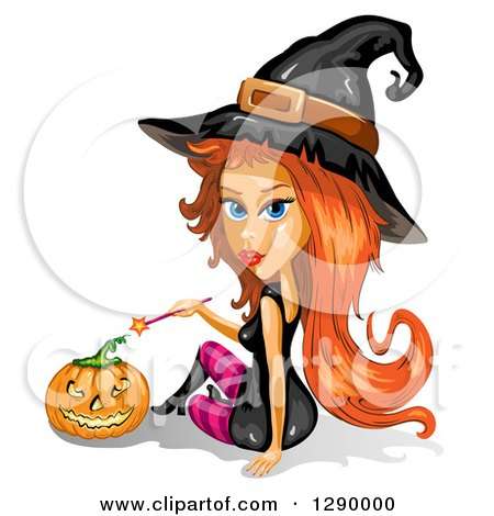 Clipart of a Red Haired Attractive Halloween Witch Holding a Wand by a Jackolantern Pumpkin - Royalty Free Vector Illustration by merlinul