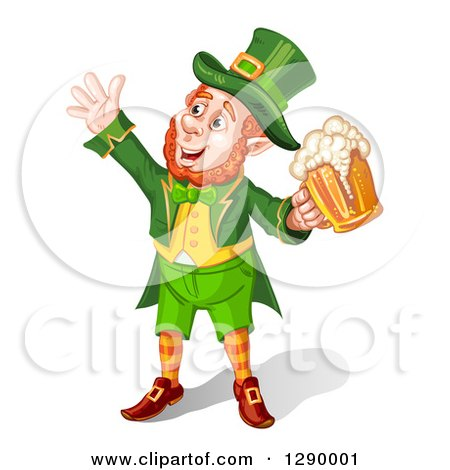 Clipart of a Celebrating Happy Leprechaun Cheering with Beer - Royalty Free Vector Illustration by merlinul