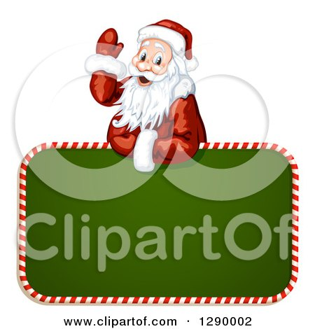 Clipart of a Waving Santa Claus over a Green Christmas Sign - Royalty Free Vector Illustration by merlinul