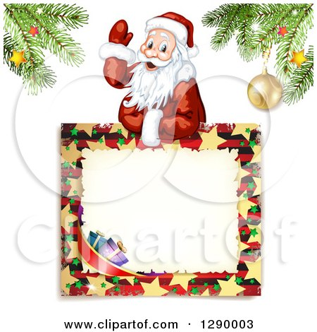Clipart of a Waving Santa Claus over a Christmas Sign Under Tree Branches, on off White - Royalty Free Vector Illustration by merlinul