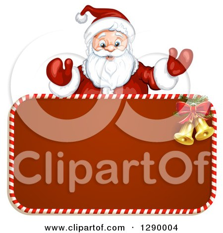 Clipart of a Welcoming Santa Claus over a Red Christmas Sign - Royalty Free Vector Illustration by merlinul