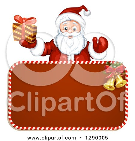 Clipart of a Welcoming Santa Claus Holding a Present over a Red Christmas Sign - Royalty Free Vector Illustration by merlinul