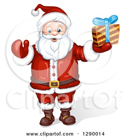 Clipart of a Jolly Santa Claus Holding a Christmas Gift - Royalty Free Illustration by merlinul