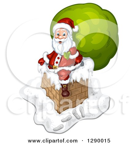 Clipart of Santa Claus Holding a Giant Green Sack on a Chimney - Royalty Free Illustration by merlinul