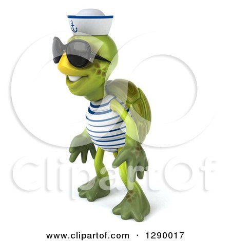 Clipart of a 3d Tortoise Turtle Sailor Wearing Sunglasses and Facing Left - Royalty Free Illustration by Julos