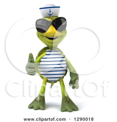 Clipart of a 3d Tortoise Turtle Sailor Wearing Sunglasses and Giving a Thumb up - Royalty Free Illustration by Julos