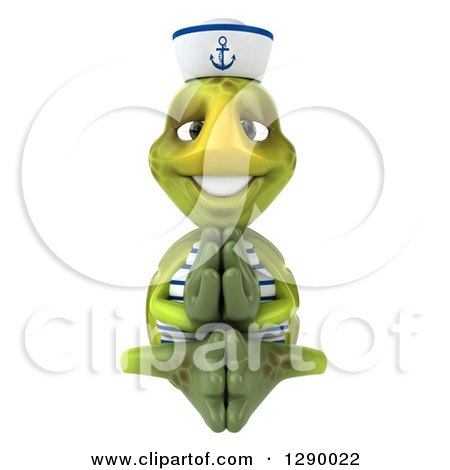 Clipart of a 3d Tortoise Turtle Sailor Meditating - Royalty Free Illustration by Julos