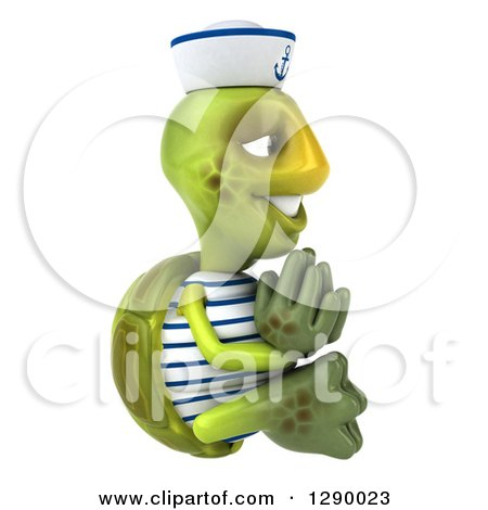 Clipart of a 3d Tortoise Turtle Sailor Facing Right and Meditating - Royalty Free Illustration by Julos