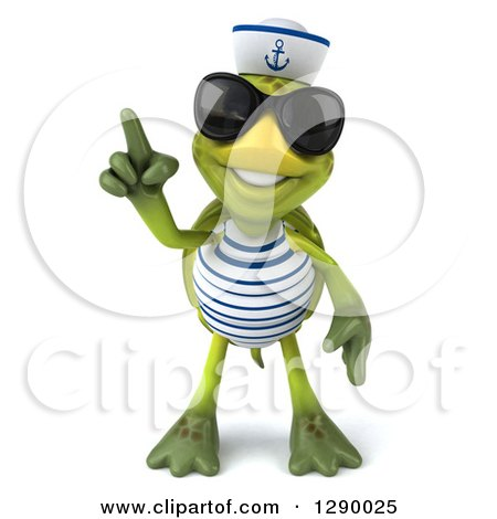 Clipart of a 3d Tortoise Turtle Sailor Wearing Sunglasses and Holding a Finger up - Royalty Free Illustration by Julos