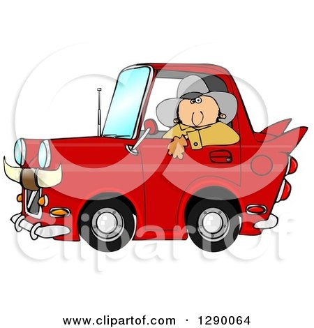 Clipart of a White Cowboy Looking out of the Window of His Red Vintage Car with Horns on the Front - Royalty Free Illustration by djart