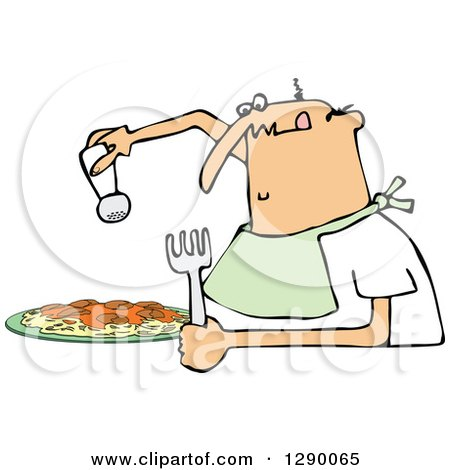 Clipart of a Hungry Chubby White Man Wearing a Bib and Salting a Plate of Spaghetti - Royalty Free Vector Illustration by djart