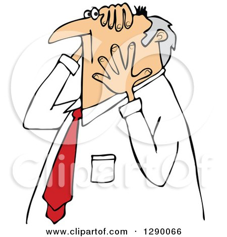 Clipart of a Worried Chubby Senior Caucasian Businessman Grabbing His Head and Face - Royalty Free Vector Illustration by djart